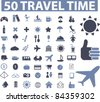 50 travel icons, signs, vector illustrations set - stock photo