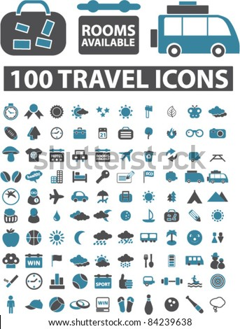 100 travel icons, signs, vector illustrations set - stock vector