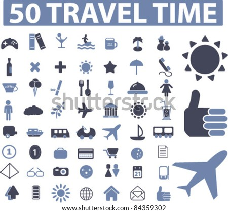 50 travel icons, signs, vector illustrations set - stock vector