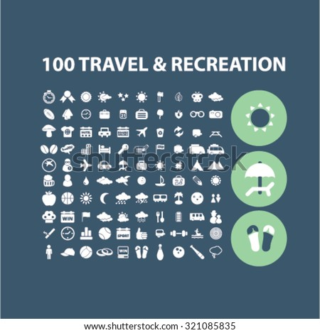 100 travel, recreation icons - stock vector