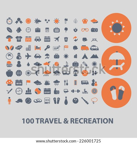 100 travel, recreation icons, signs, illustrations, vector, set