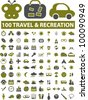 100 travel & recreation icons, signs, vector - stock photo