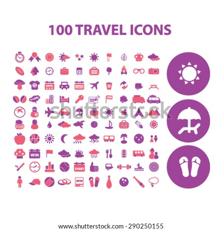 100 travel, recreation isolated icons, signs, illustrations for web, internet, mobile application, vector - stock vector