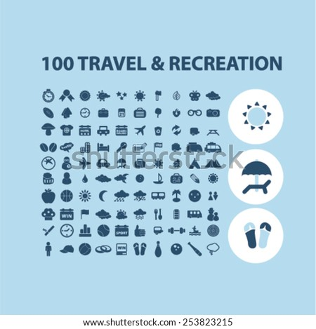 100 travel, recreation, tourism isolated flat icons, signs, symbols illustrations, images, silhouettes on background, vector - stock vector