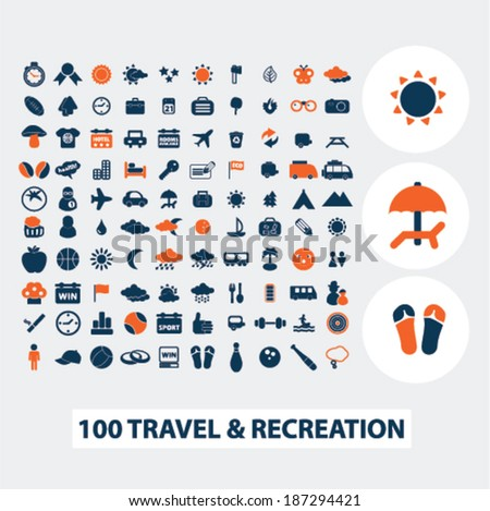 100 travel, recreation, vacation icons, signs, elements set, vector  - stock vector