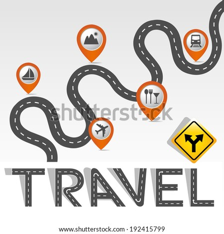 """Travel"" Road & Street Alphabet and icons set - stock vector"