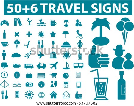 50+6 travel signs. vector