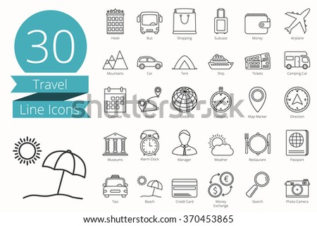 30 Travel thin line icons, vector eps10 illustration - stock vector