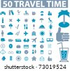 50 travel time icons, vector - stock vector