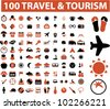100 travel & tourism icon set, vector - stock vector