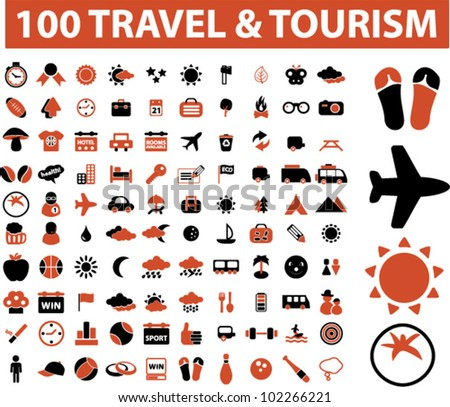 100 travel & tourism icon set, vector