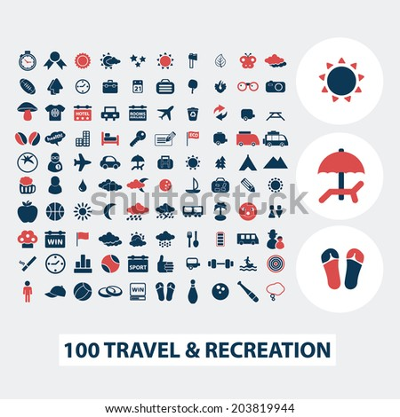 100 Travel Vacation Summer Icons Signs Stock Vector 203819944