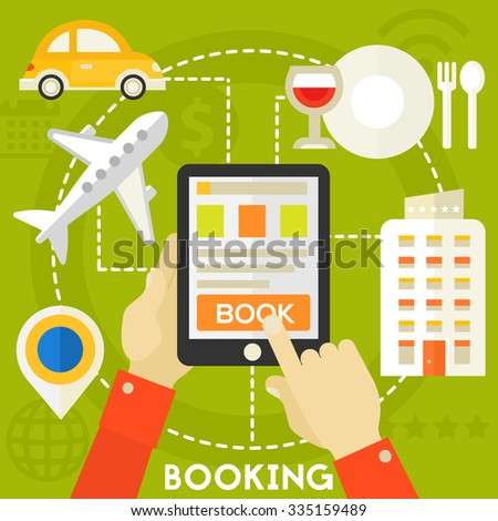 Traveling & Tourism Concept - Searching and Booking - stock vector
