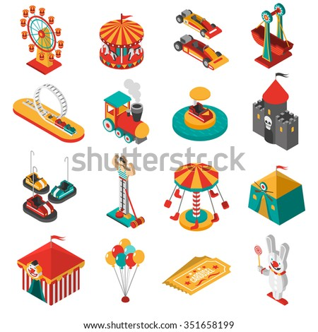Travelling amusements park isometric icons collection with ferris observation wheel and circus tent abstract isolated vector illustration   - stock vector