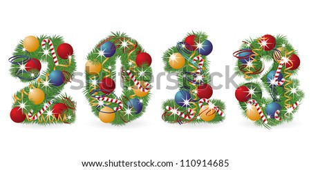 2013 Tree font with Christmas ornaments, vector illustration - stock vector