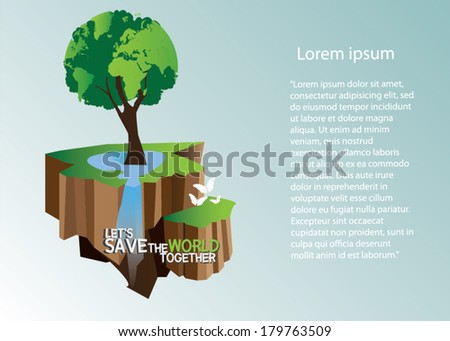 Tree forming the world globe in its branches and leaves background illustration - stock vector