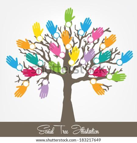 tree hands Vector illustration - stock vector