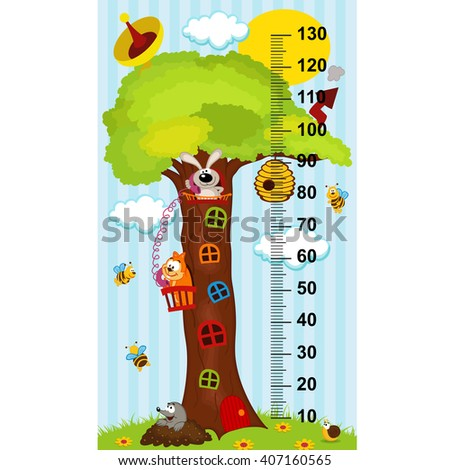 tree house height measure (in original proportions 1:4)- vector illustration, eps - stock vector