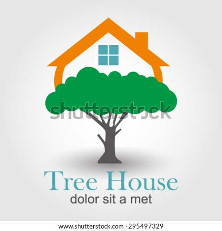 Tree House logo element innovative and creative inspiration for business company. - stock vector