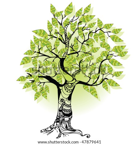 tree with trunk and leaves separate - stock vector