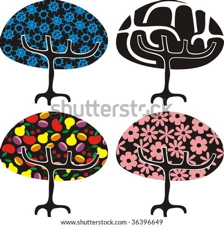 4 trees in different seasons in vector - stock vector