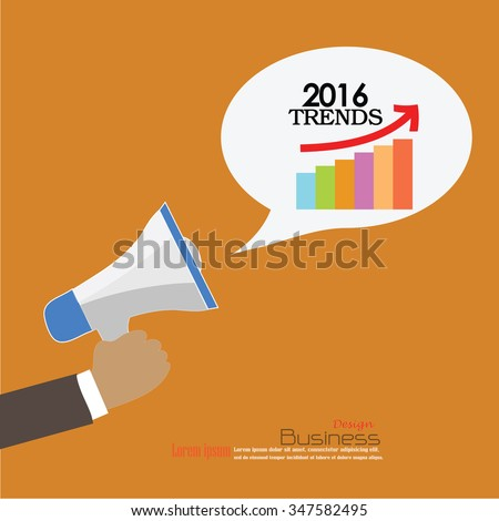 2016 trends.hand with megaphone and  2016 trends word.Vector illustration.