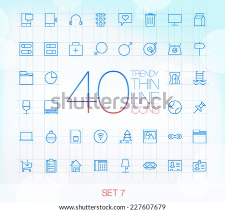 40 Trendy Thin Icons for web and mobile Set 7 - stock vector