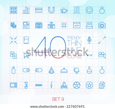 40 Trendy Thin Icons for web and mobile Set 9 - stock vector
