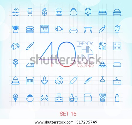 40 Trendy Thin Icons for web and mobile Set 16 - stock vector