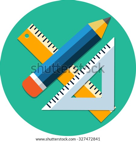 Triangle Ruler,Ruler And Pencil.Flat Icon - stock vector