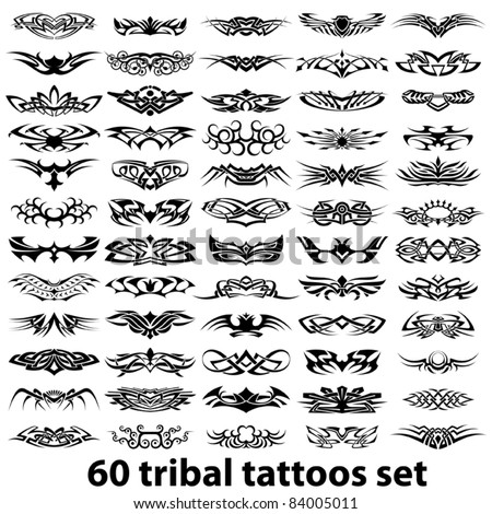 60 tribal tattoos set - stock vector