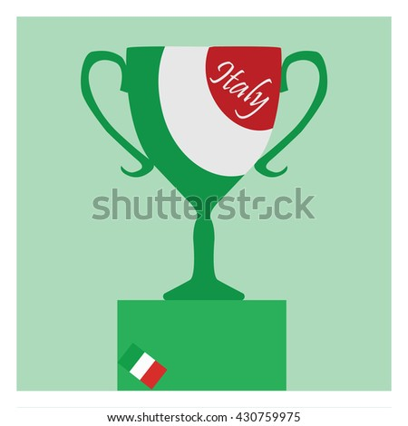 Trophy Cup Flat Icon with Italian flag. Championship winner prize trophy symbol.  - stock vector