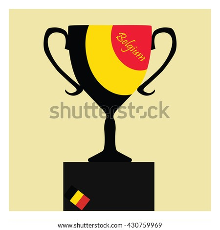Trophy Cup Flat Icon with the Belgian flag. Championship winner prize trophy symbol. - stock vector