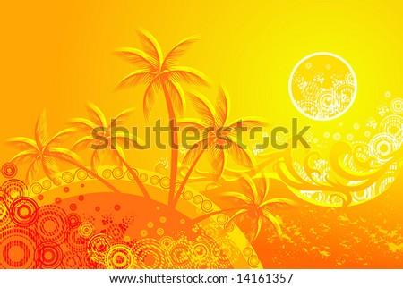 tropical beach - stock vector