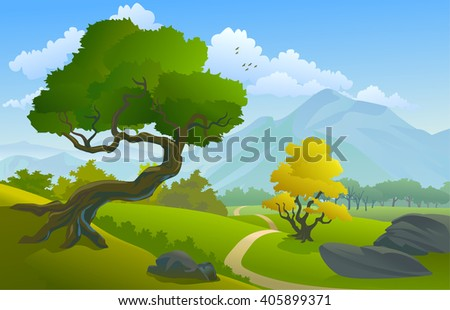 Tropical Landscape with Trees and Hills