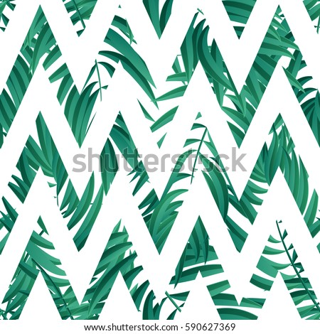 Tropical Palm leaves.  Tropical Palm leaf seamless. Vector Green palm summer tropical leaves.
