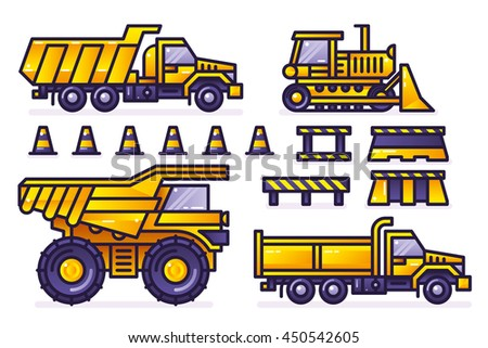 Trucks and tractors set.  Linear vector colored icons. Vector illustration.