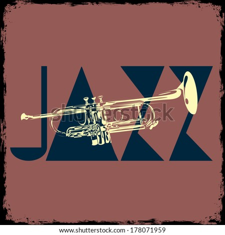 Trumpet - musical vector background - stock vector