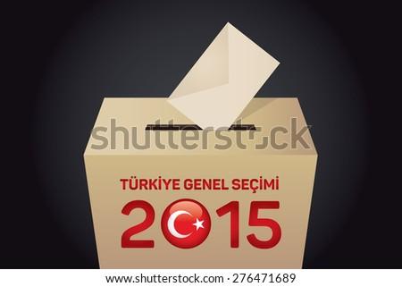 2015 Turkish General Election (Turkish: Turkiye Genel Secimi), Vote Box - Black Background - stock vector