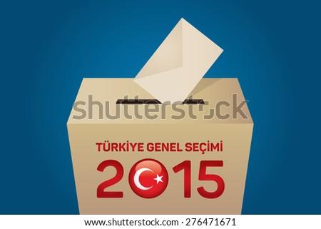 2015 Turkish General Election (Turkish: Turkiye Genel Secimi), Vote Box - Cyan Background - stock vector