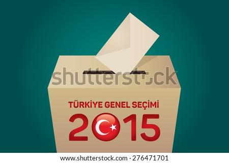 2015 Turkish General Election (Turkish: Turkiye Genel Secimi), Vote Box - Green Background - stock vector
