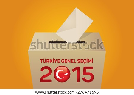2015 Turkish General Election (Turkish: Turkiye Genel Secimi), Vote Box - Yellow Background - stock vector