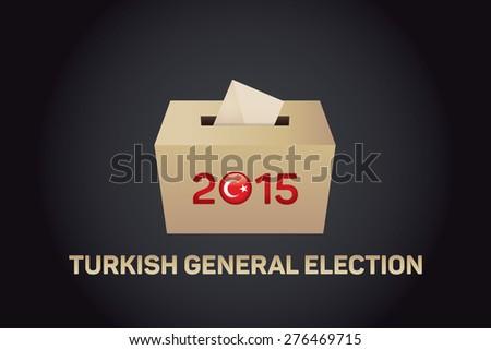 2015 Turkish General Election, Vote Box - Black Background - stock vector
