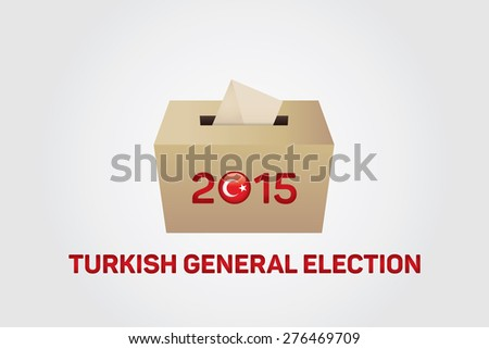 2015 Turkish General Election, Vote Box - White Background - stock vector