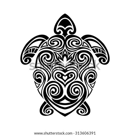 turtle in maori tattoo style - stock vector