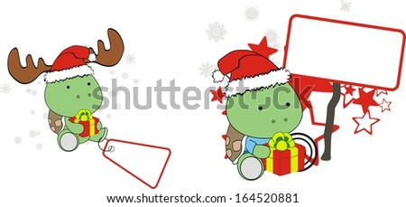 turtle xmas baby claus gift copyspace set in vector format