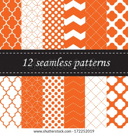 Twelve seamless geometric patterns with quatrefoil, chevron and polka dot designs, in orange - stock vector