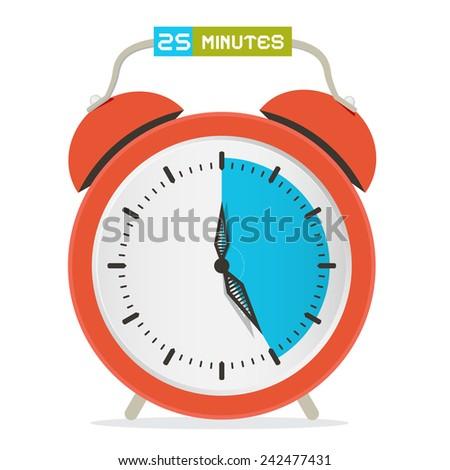 25 - Twenty Five Minutes Stop Watch - Alarm Clock Vector Illustration  - stock vector