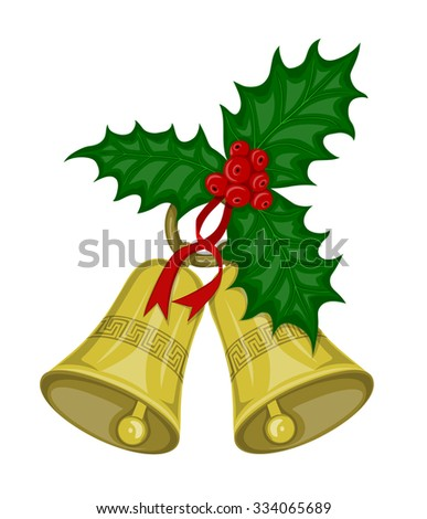 Two Christmas bells golden color on the ring   with decorative ornament  and red berries of holly with green leaves and red ribbons  on the white background. Symbol Christmas holiday. - stock vector