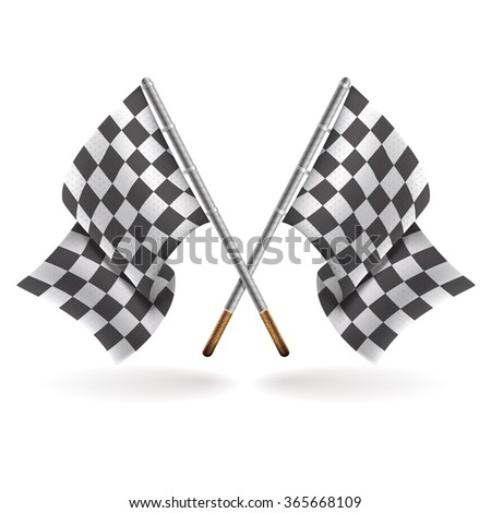 Two formula one flags isolated on light background. Speed flags for websites, flayers and printing. Vector flag template. - stock vector